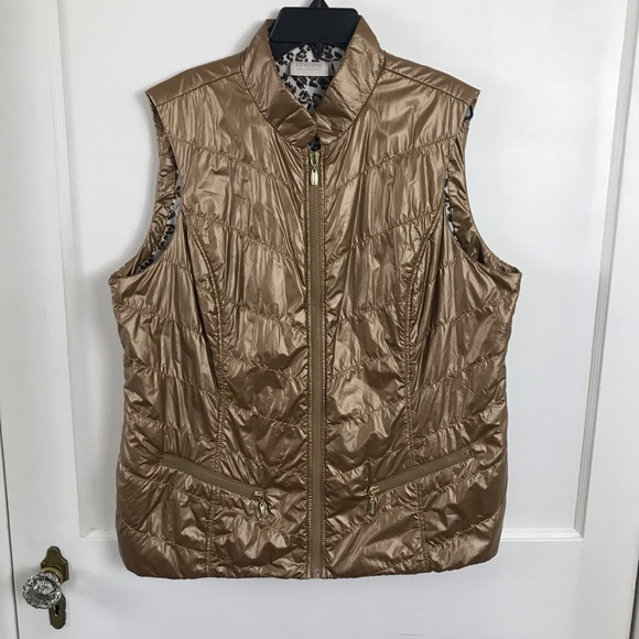 Chico's Jackets & Blazers - Chico's Bronze Novelty Shine Puffer Vest Size L